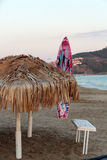 Cane umbrella on the Cleopatra beach.Alanya Royalty Free Stock Images