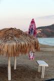 Cane umbrella on the Cleopatra beach.Alanya Royalty Free Stock Images