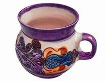 Caneca cerâmica feito à mão com ornamento imagens de stock royalty free