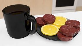 Caneca com biquits do chá e do limão ilustração royalty free