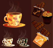Caneca de café com chocolate e bolo Imagens de Stock Royalty Free