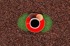Caneca de café com os biscoitos na grama com feijões de café ao redor foto de stock royalty free
