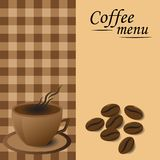 Caneca de café do menu com feijões de café Imagem de Stock