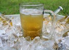 A caneca de cerveja centrou-se na cubeta de gelo com garrafas de cerveja Fotografia de Stock