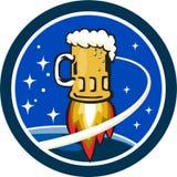 Caneca de cerveja Rocket Ship Space Circle Retro Fotografia de Stock Royalty Free