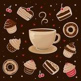 Caneca de chá e de queque Represente um copo do café quente cercado por bolos e por anéis de espuma Fotografia de Stock
