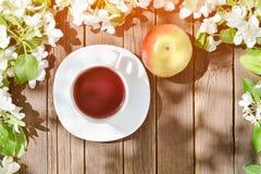 Caneca de chá e de maçã madura entre a maçã da flor em um backgr de madeira Fotos de Stock Royalty Free