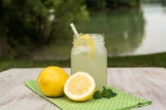 Caneca de limonada com limões fora pelo lago fotografia de stock