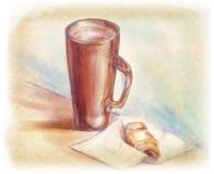 Caneca e croissant ilustração stock