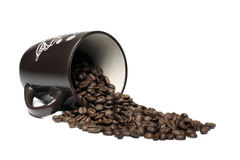 Caneca e feijões de café Imagem de Stock Royalty Free