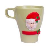 Caneca feito a mão do Natal com Santa Imagens de Stock