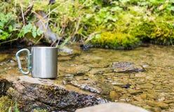 caneca thermo de aço inoxidável perto da mola da montanha Fotos de Stock Royalty Free