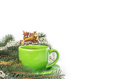 Caneca verde de chá Fotos de Stock