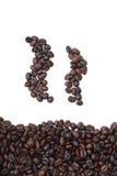 Canecas da silhueta de feijões de café Imagem de Stock Royalty Free