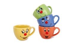 Canecas do chá e copos de café foto de stock