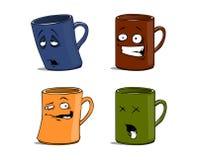 Canecas dos desenhos animados com diferente das emoções isoladas Fotografia de Stock