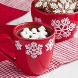 Canecas vermelhas com chocolate quente e marshmallows e cookies do pão-de-espécie Imagens de Stock Royalty Free
