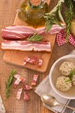 Canederli pasta with bacon. Stock Image