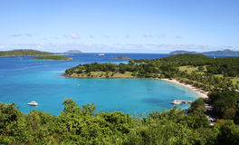 Caneel Bay on the island of St John. Beach and sea scape of Caneel Bay on the Caribbean island of St John stock image
