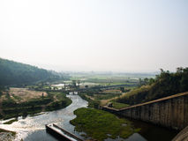 Canel and paddy field nearby Mae Suay reservoir, Chiang rai, Tha Stock Photography