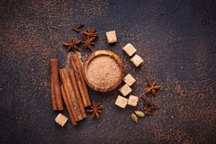Canela, anis, cardamomo, trevo e açúcar Imagem de Stock