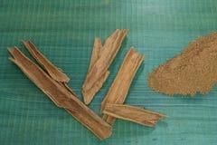 Canela, cuchara de madera, en fondo de madera verde Imagen de archivo libre de regalías