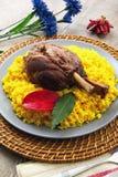 Canela do assado com arroz amarelo com açafrão Imagem de Stock Royalty Free
