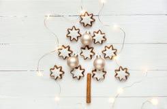 A canela do Natal e a estrela alemãs tradicionais das porcas deram forma a cookies com crosta de gelo na forma da árvore de abeto imagem de stock royalty free