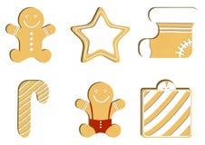 Canela do pão-de-espécie O homem de pão-de-espécie mágico decorou a crosta de gelo colorida Cookie do feriado na forma do homem I Foto de Stock