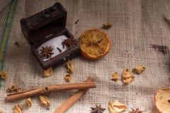Canela e açúcar em pequeno Fotografia de Stock Royalty Free