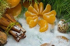 canela e fatias do mandarino foto de stock