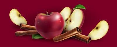 Canela e maçãs vermelhas ilustração do vetor