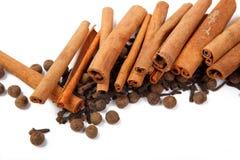 Canela e pimenta do cravo-da-índia foto de stock