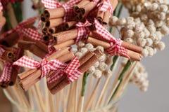 Canela inteira Especiarias tradicionais do Natal no cinza no ar imagens de stock royalty free