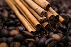 Canela no close-up dos feijões de café Foto de Stock