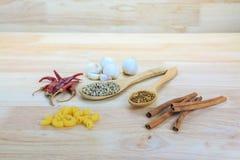 Canela, pimientas secadas, semillas de coriandro, pimienta blanca, pastas de los macarrones Imagen de archivo libre de regalías