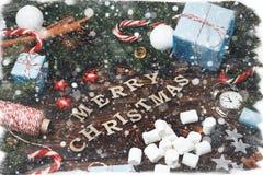 Canela v del cono del pino de las ramas del abeto de la composición del Año Nuevo de la Navidad Foto de archivo