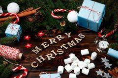 Canela v del cono del pino de las ramas del abeto de la composición del Año Nuevo de la Navidad Imágenes de archivo libres de regalías