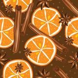 Canela y naranjas, vector, fondo de la cocina stock de ilustración