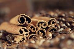 Canella sticks and coffee grains Stock Photo