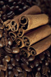 Canella sticks and coffee grains Royalty Free Stock Image