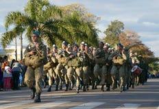 "CANELONES, URUGUAY-†""am 18. Mai 2018: Armee von Uruguay, Vereinte Nationen, Jahrestag 207 von Batalla de Las Piedras Lizenzfreies Stockfoto"