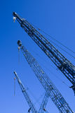 Canes. View of the top three yard crane Stock Images