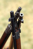 Canes assault rifles standing close together. Royalty Free Stock Images