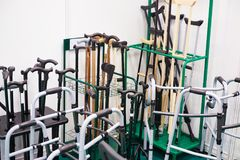 Free Canes, Crutches, And Other Devices For Moving Disabled People Stock Photo - 106199980