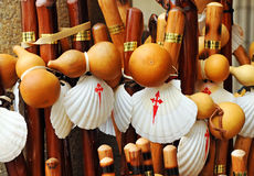 Canes, scallops and pumpkins, the pilgrim equipment, Way to Santiago, Camino de Santiago Royalty Free Stock Image