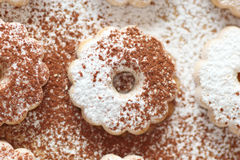 Canestrelli biscuit with cocoa and sugar Stock Photo