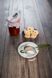 Canestrelli biscuit on wood table Royalty Free Stock Photography