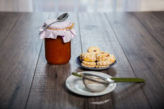 Canestrelli biscuit on wood table Royalty Free Stock Photo