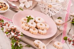 Canestrelli biscuits. Canestrelli biscuits with icing sugar royalty free stock images